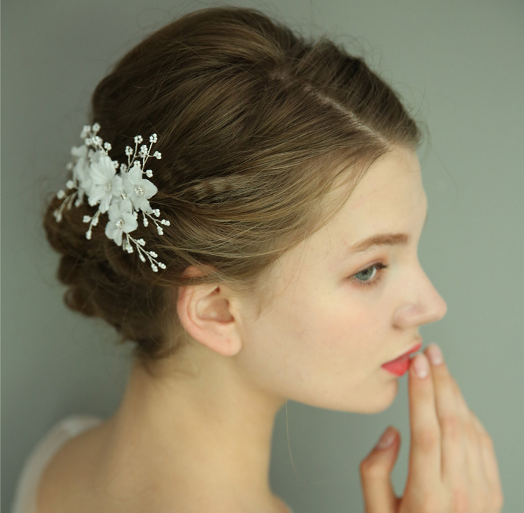 Wedding Petite Hair Comb For Bridal Petal And Rhinestone Decoration Hair Piece Women Jewelry Side Combs