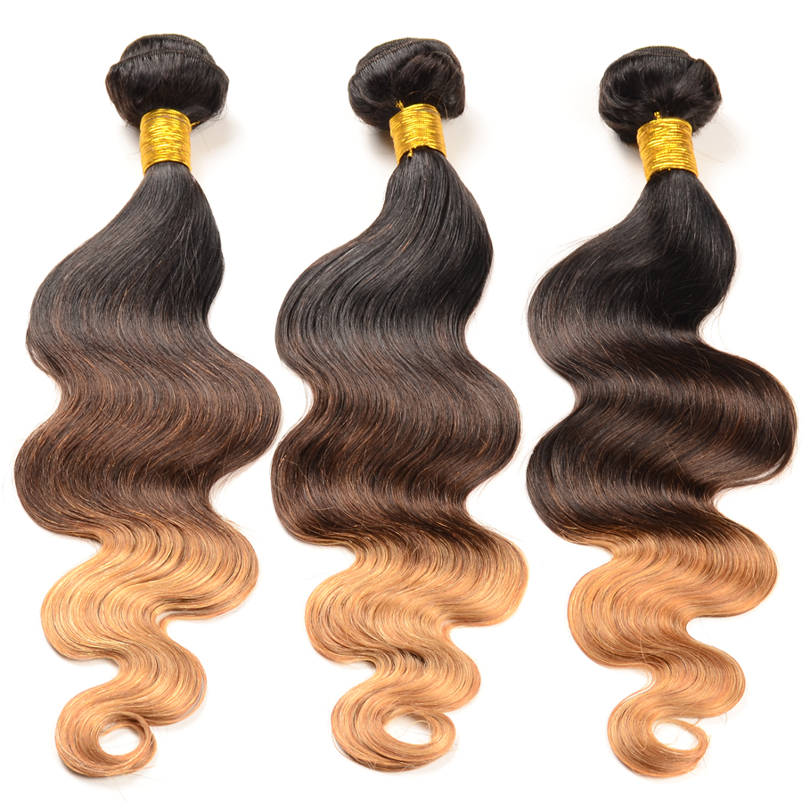 Brazilian Ombre Hair Extensions 3Pcs Three Tone Ombre Brazilian Hair Weave Bundles 1B/4/27 Ombre Brazilian Virgin Hair Body Wave