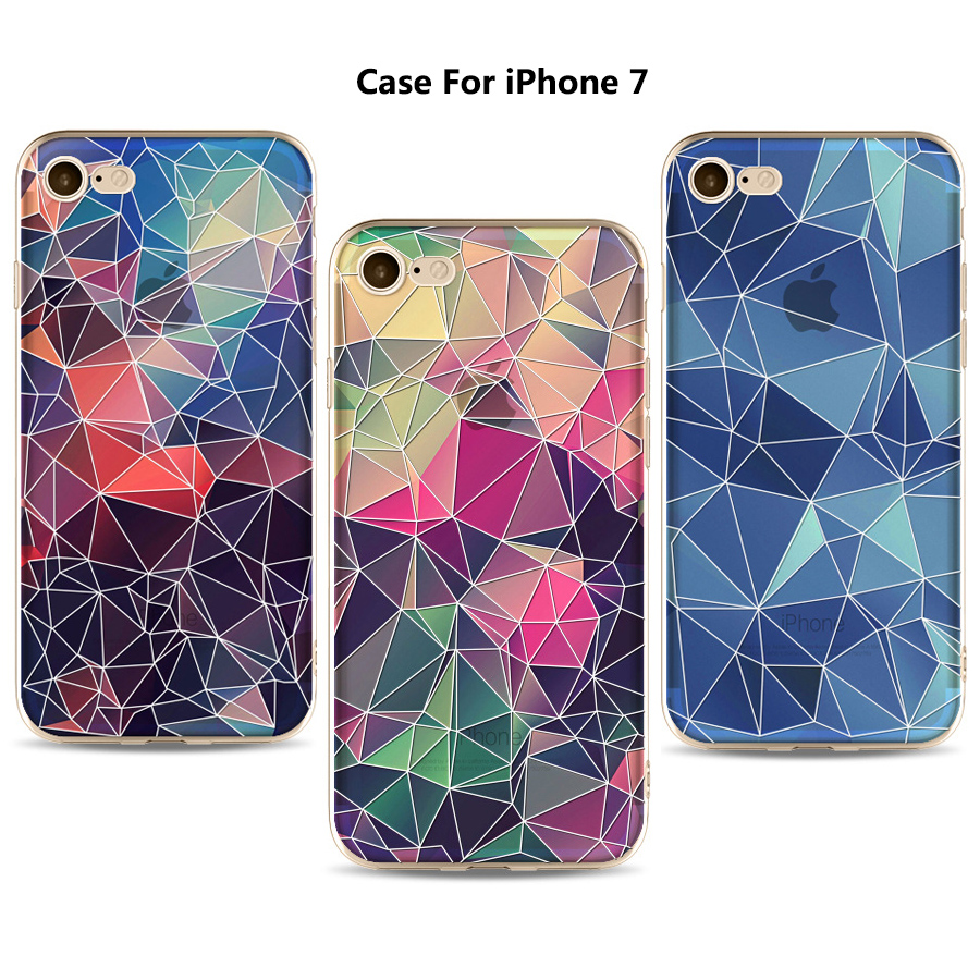3D relief design colorful geometry pattern flexible soft tpu+pc case rubber silicone skin cover mobile phone case for iPhone 7
