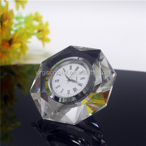 Decorative cheap crystal diamond table clock for business gift or wedding favor