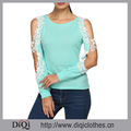 Guangzhou Custom Newest Women Fashion Casual O-Neck Long Sleeve Cold Shoulder Lace Patchwork Hollow Blue Knitted Blouse
