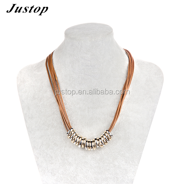 18k gold rope chain choker necklace leather in fashion brown