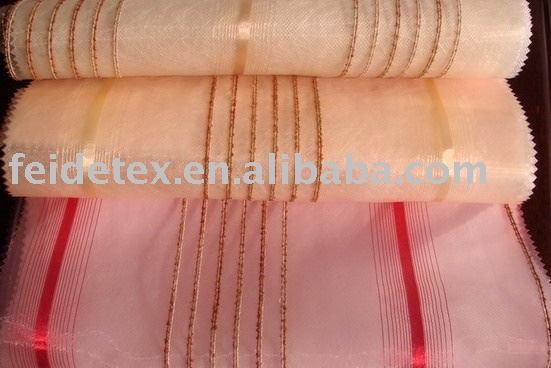 100% polyester Organza with lines curtain fabric