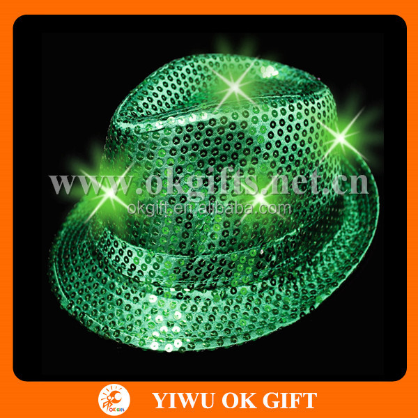 Party Favors Cheap Sequin LED Green Fedora Hat