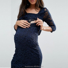 OEM China clothing maternity supplier hot selling maternity blue lace dress pregnant women