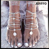 Boho Vintage Silver Coin Blessing Symbol Tassel Anklets Foot Jewelry