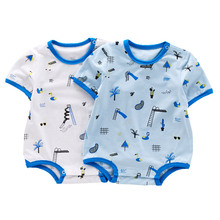 High quality short sleeve summer clothes organic cotton jumpsuit baby suits for boy wholesale