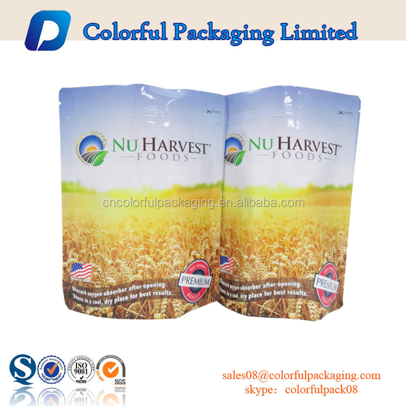 2016 food cereal packaging bag plastic bread bags printed plastic bag with zip lock and handle