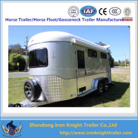 2015 hot sales horse floats, 2 horses angle load trailer with kitchen