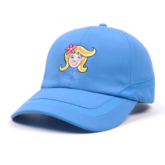 Dongguan factory blue girl's dry fit mesh ventilate sport fashion cap polyester running golf hat