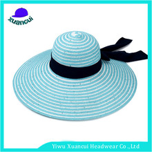 China factory custom made Cheap Ladies Summer Wide Brim straw hat beach floppy hat wholesale