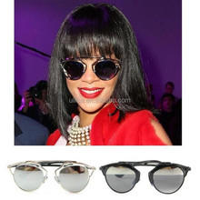 Retro Fashion Metal Crossbar Horned Rim Sunglasses,fashion couple sunglasses