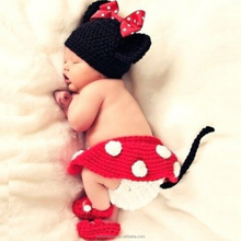 Cute Minnie Mouse Handmade Baby crochet Hat Diaper Shoes Dress