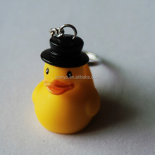 Led Military wresting antique yellow duck key ring chip flash finger led chain light