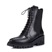 2017 new arrival lace up genuine leather military ankle boots for women