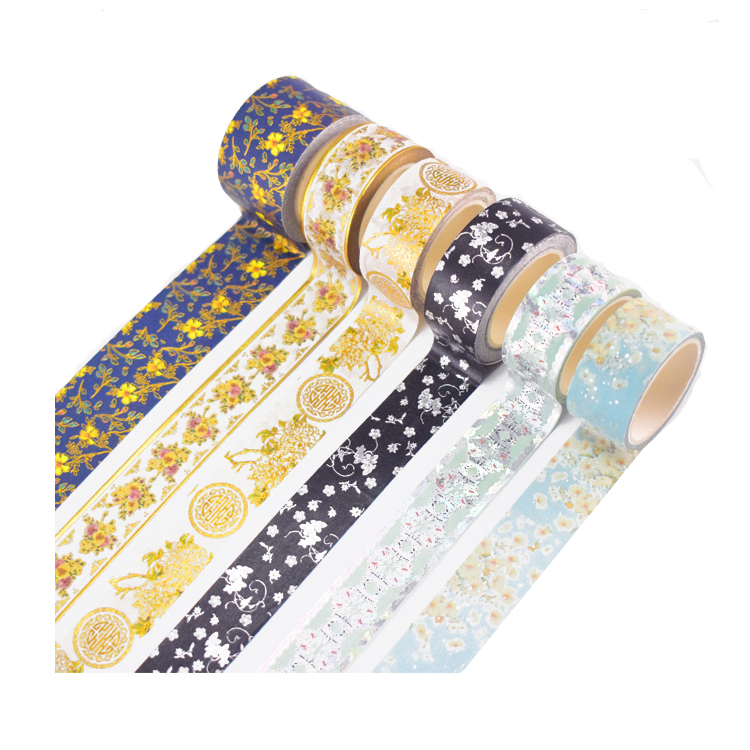 Metallic Rice Paper Colored Sticker Custom Printed Washi Masking Tape