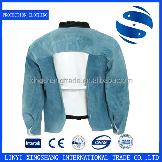 XS-JD-FH-001 sleeved fireproof leather welding protection clothing for argon arc welding