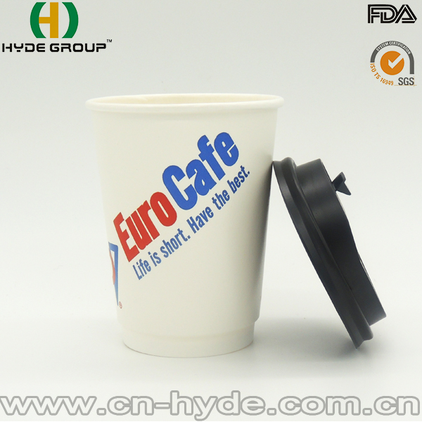 12OZ Double Wall Disposable Paper Coffee Cups Design With Logo