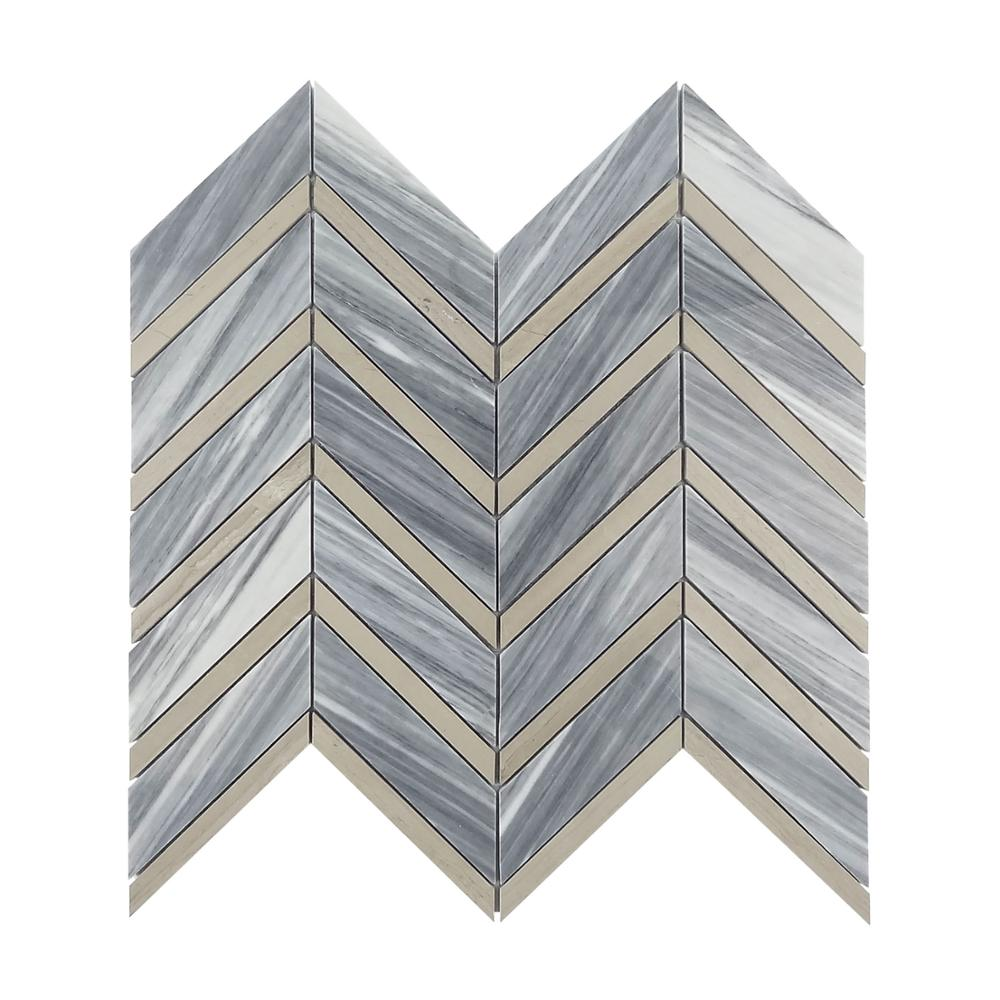 Gray Marble Floor 3D Bump Herringbone Mosaic Tile