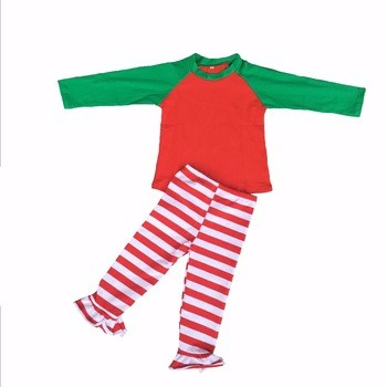 Wholesale winter little girl new style cotton pajamas sets kids long sleeve shirt and long pant sleepwear boutique suits