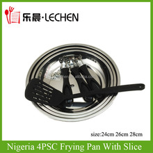Industry Nigeria Frying Pan With Slice Removable Handle Stainless Steel Fryer 3pcs/4pcs Bakelite Handle