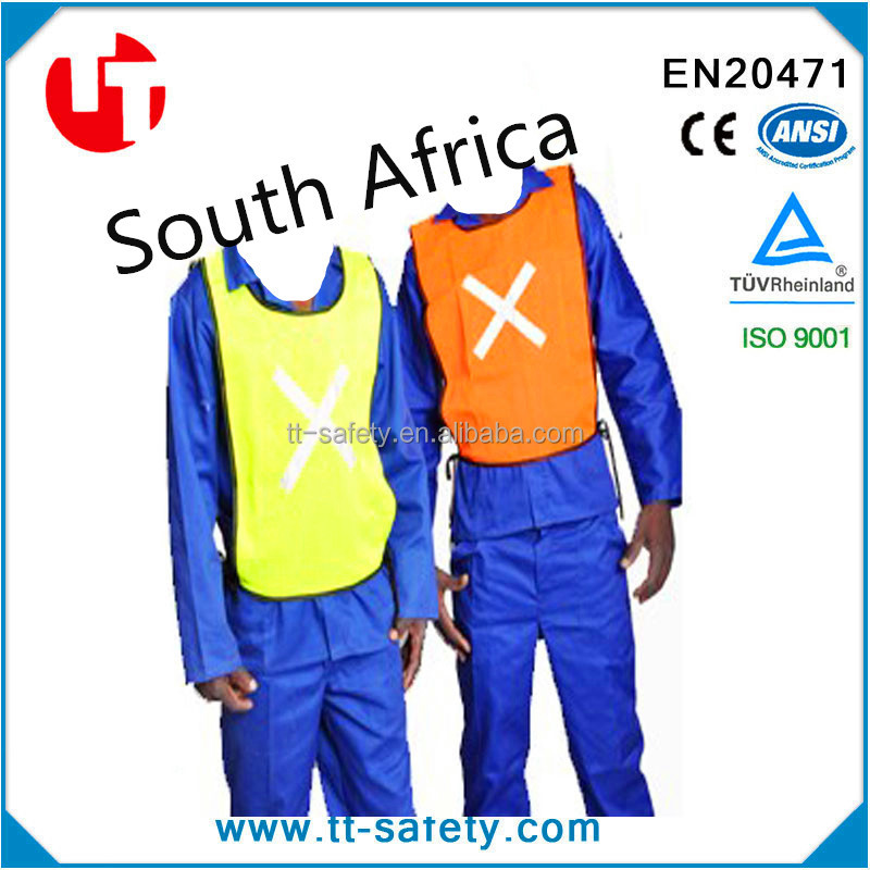60g 100% polyester mesh hi vis fluorescent yellow safety cheap South Africa reflective bib