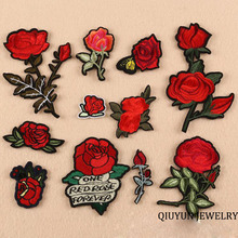 Top Patches Iron-on Sew-on Red Rose Flower Embroidery Patch Motif Applique Children Women DIY Clothes Sticker Wedding Rose Patch