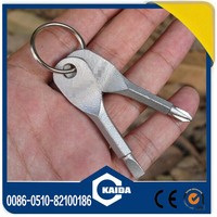 Mini pocket stainless steel slot and phillips screwdriver with key ring