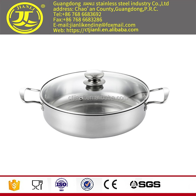 3pcs stainless steel fry pan Factory price kitchenware Stainless steel soup pan with laser polish