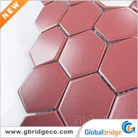 New Home Decor Crackle Mixed Stone Tile Ceramic Mosaic Red Glass Mix Ceramic Mosaics 60 HTN902M