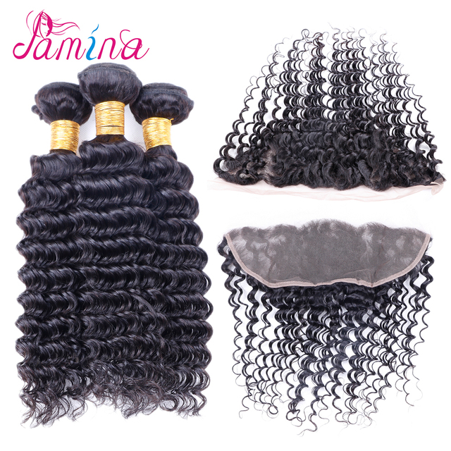 Brazilian Virgin Hair Deep Wave 3 Bundles With Closure curl Remy Human Hair Peruvian Deep Curly Wavy Hair Top Quality