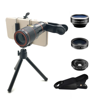 Best and cool 4 in 1 phone accessories camera lens, small telescope+fisheye+wide angle+macro lens kit