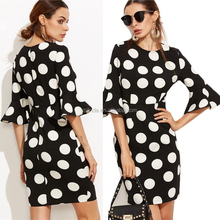OEM Wholesale Woman's Fashion Fall 2016 European Style Winter Clothes Women Black Polka Dot Print Ruffle Sleeve Sheath Dress