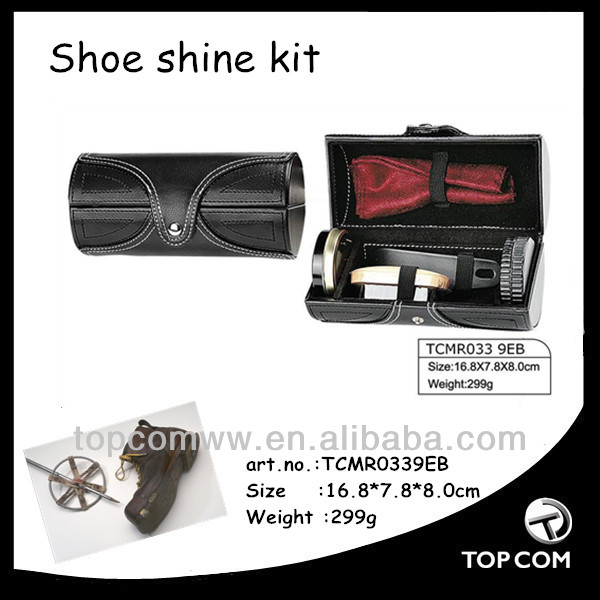 portable leather case shoe polish kit