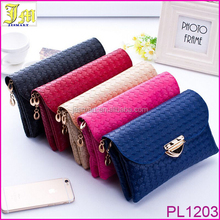 New Women Casual Purse Bag Weaved Leather Lady Cross Body Shoulder Bags Money Phone Envelope Bag