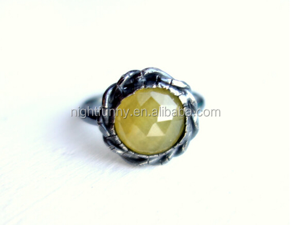 Braided Silver Yellow Sapphire Handmade Ring Raw Gemstone Antique Silver Ring