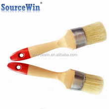 100% Natural Bristles Rust Resistant Round Oval Chalk Wax Paint Brush for Chairs
