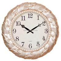 Home Decoration Antique Polyresin Wall Clock Sweep Movement