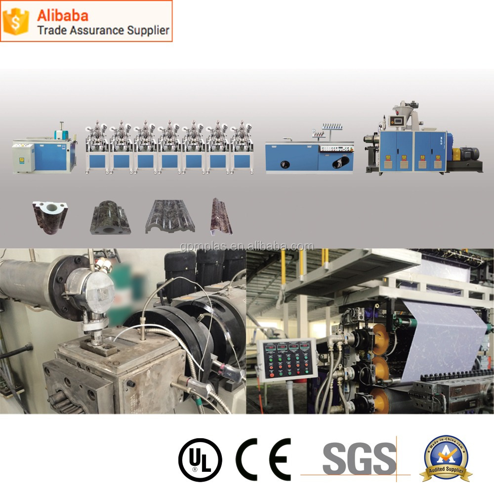 High Efficiency PVC Imitation Marble Interior Decoration Materials Extrusion Line
