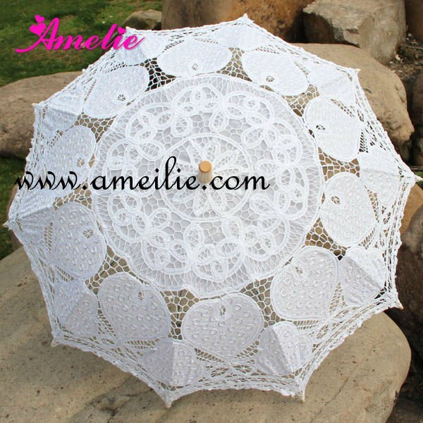 White Heidi - Heart Shaped Lace Parasol by Chrysalin