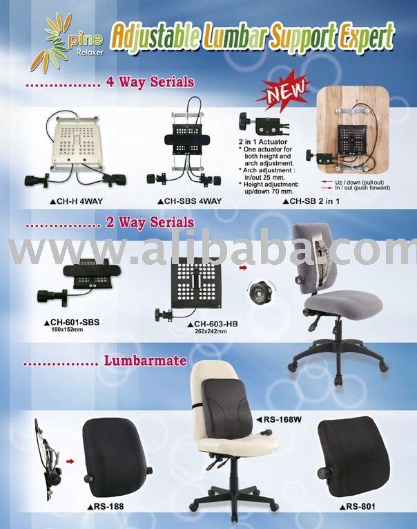 Soporte lumbar ajustable y asiento coj n partes silla de for Cojin lumbar silla oficina