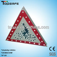Solar LED Warning Triangle Road Traffic Sign