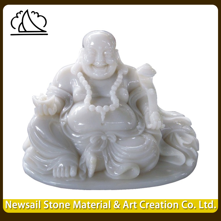 Home Garden Decoration Polished Marble Happy Buddha Statues