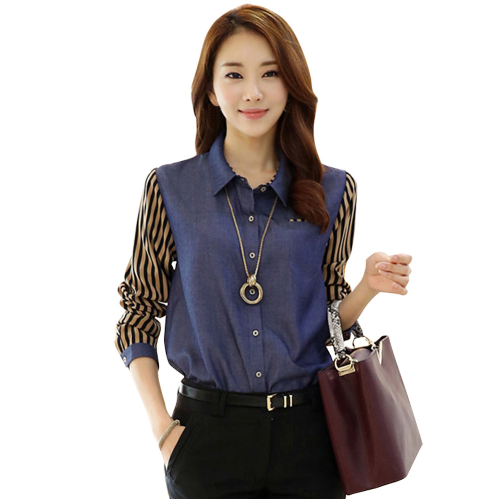All-match Spring Lady Fashion Shirts Size S-2XL Patchwork Clothes Women Slim Blouse Striped Sleeve Tip Denim Blue Color