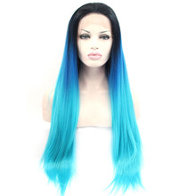 Ombre Blue Synthetic Hair Lace Front Wigs