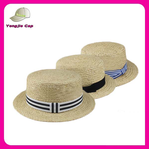Customized Made Classical Summer Beach Hats Raffia Straw skimmer boater straw hat