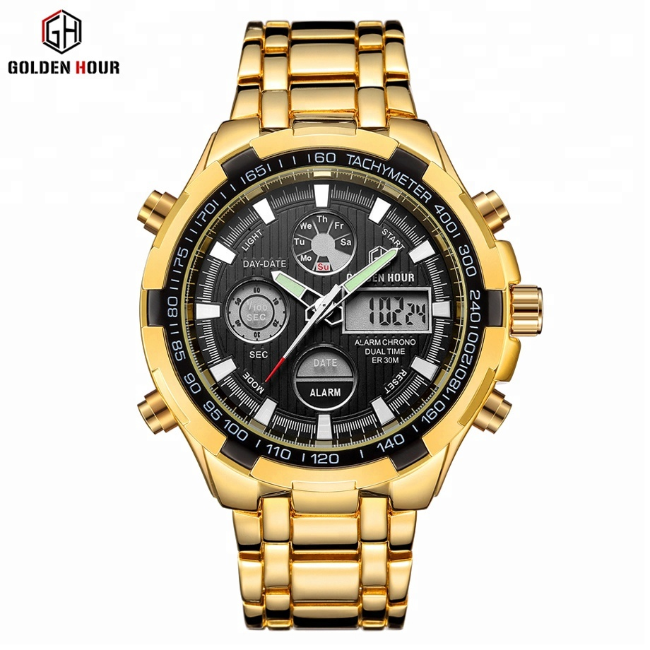 Mens Gold Watches Top Luxury Brand Quartz Watches Analog Display Wristwatch Fashion Steel Male Clock Water Resistant Sport <strong>Date</strong>
