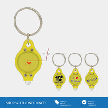 yellow top seller promotion gifts uv led advertising keychain