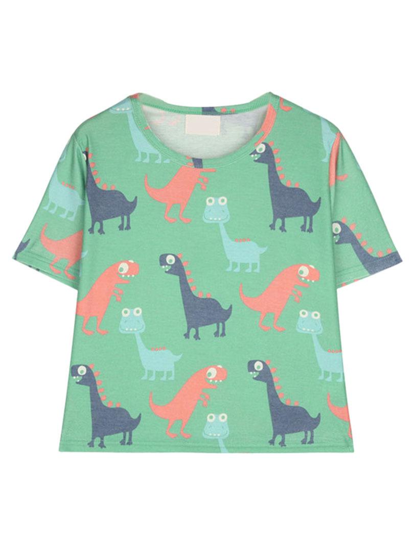 b6bb630232253 Get Quotations · Women Short Sleeve Cute Cartoon Dinosaur Graphic Prints  Loose Casual Crop Top Short T-shirt