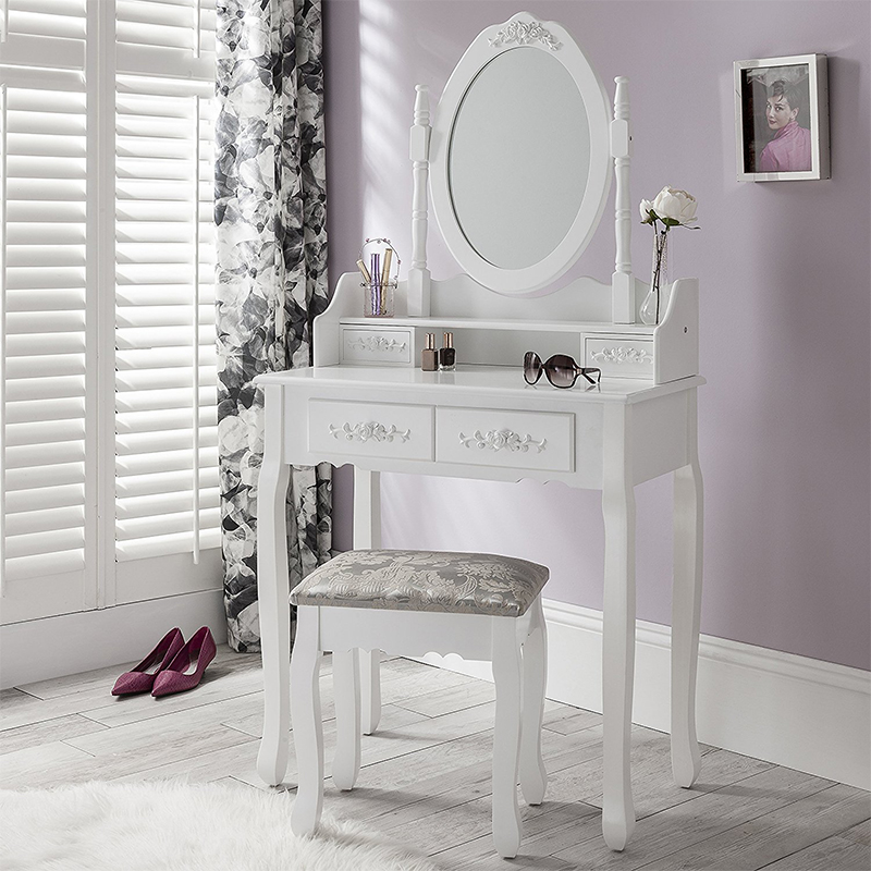 OEM service acceptable dressing table with mirror and stool